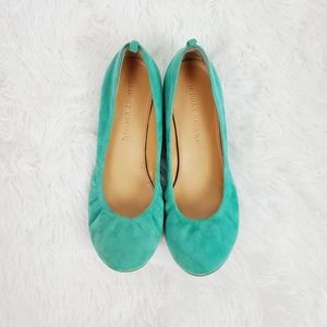 Audrey Brooke Turquoise Suede Flats